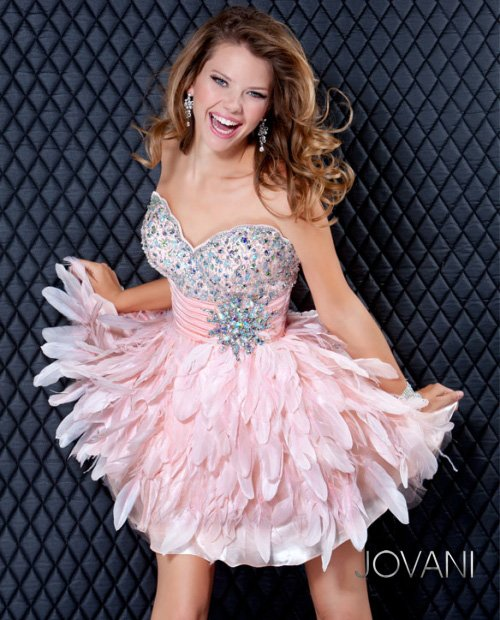 5924 cute short pink feather prom dress 2013 jovani