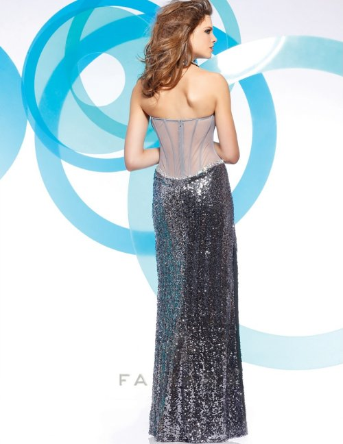 7105 sexy silver sequin prom dress 2013 with see through back by faviana