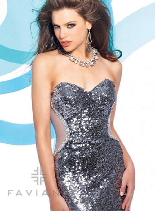 7105 sexy silver sequin prom dress 2013 with see through back