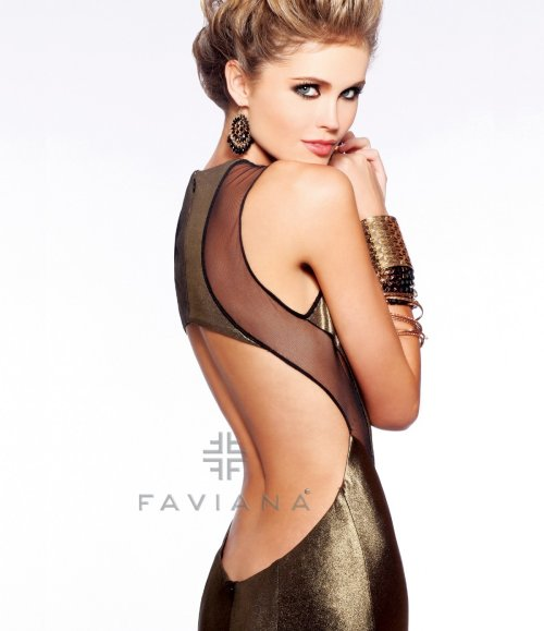 7182 exotic gold evening prom dress with open back 2013 by faviana-