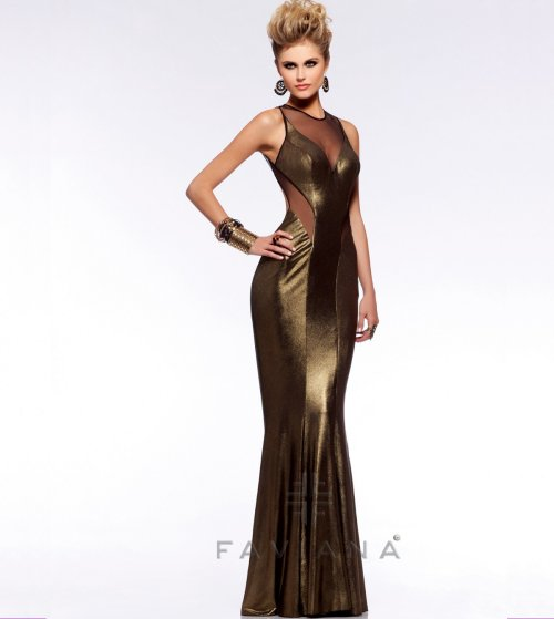 7182 exotic gold evening prom dress with open back 2013 by faviana