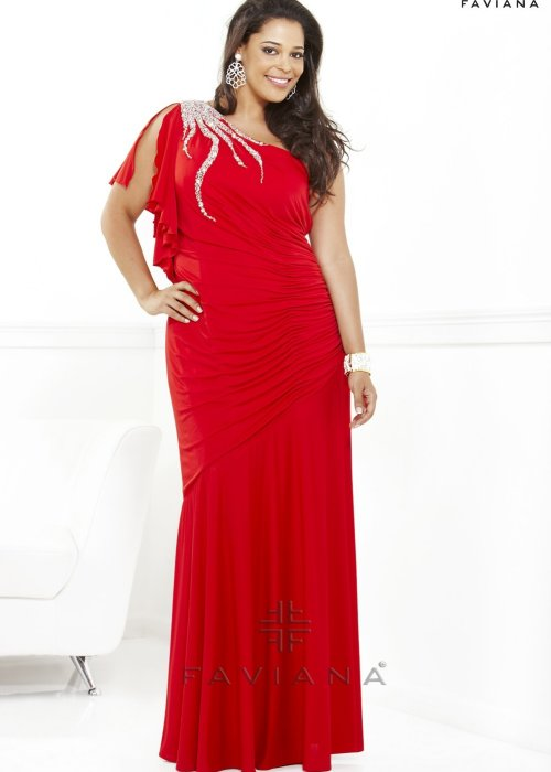 9294 long one shoulder red prom dress plus size 2013