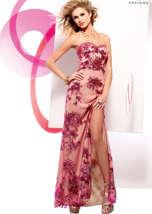 s7155 sexy strapless raspberry nude prom dress 2013 by faviana