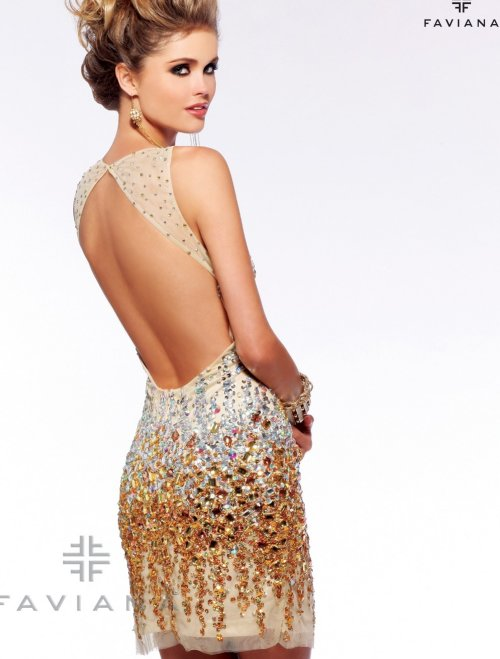 s7158 yellow diamond sexy short prom dress 2013 with open back