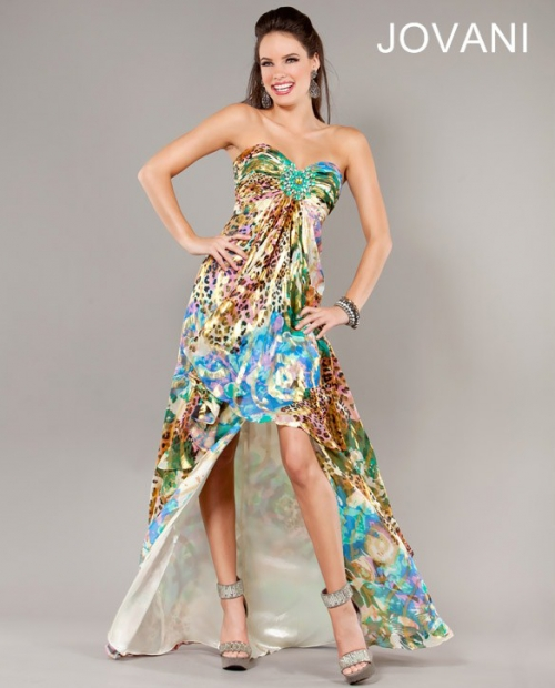 strapless high low prom dress with animal print