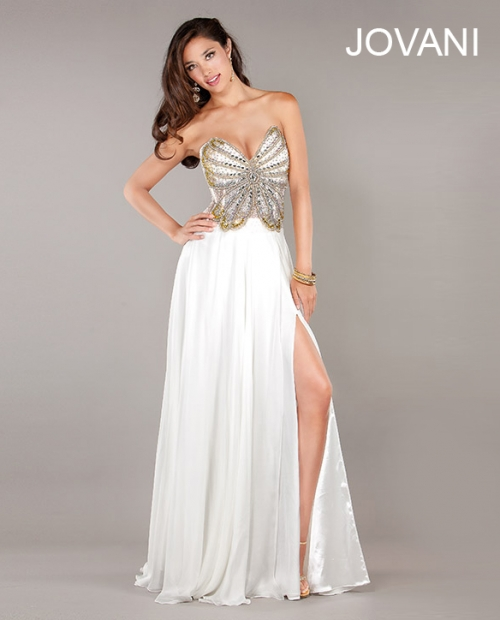 white butterfly prom dress 2013 by Jovani 3985