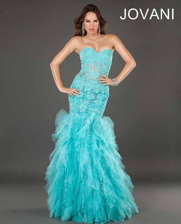 turqouise prom dress 2014 by jovani
