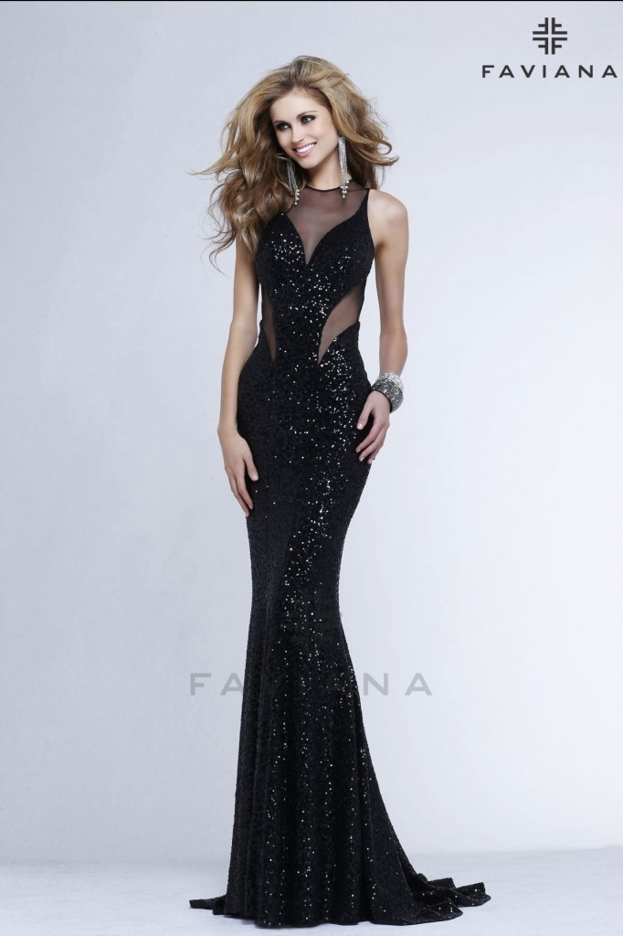 7331-sexy black sequins prom dress 2014