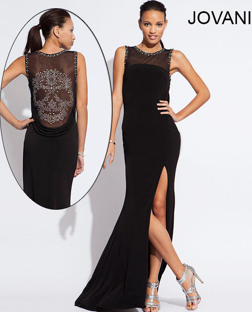 88143 sleek black prom dress with mesh see through back with beaded skull 2014