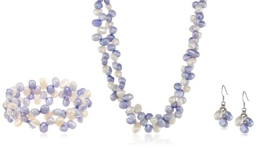 Pearls jewelry sets for prom 2014 silver purple colored pearl
