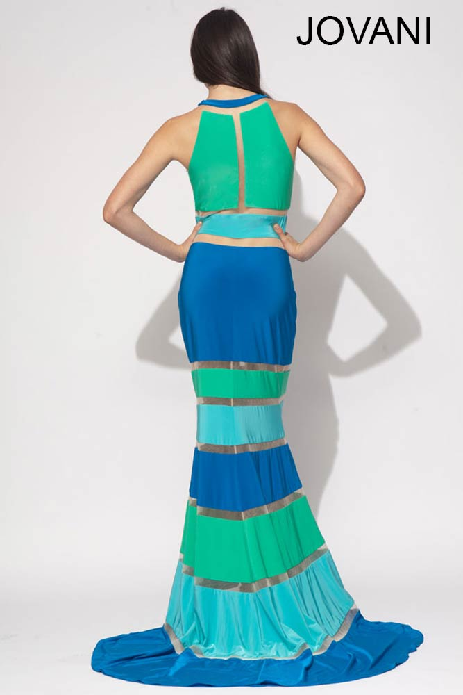 long blue green prom dress 2014 jovani-back
