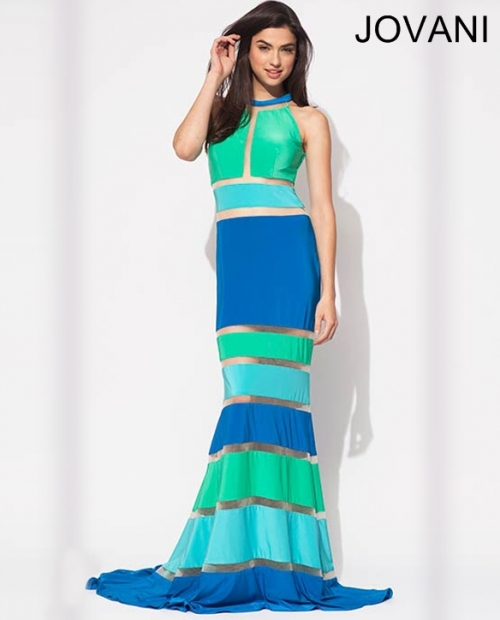 long blue green prom dress 2014 jovani