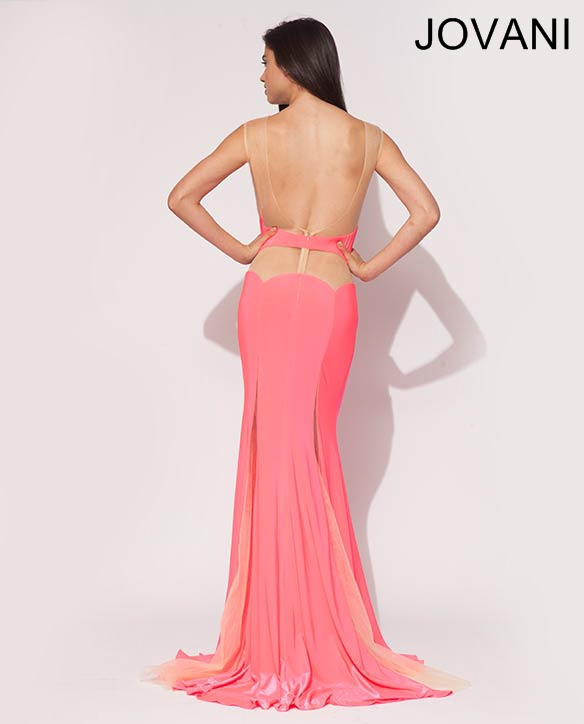 long sexy pink prom dress 2014 open back
