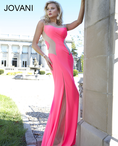 long sexy pink prom dress 2014 with open back by jovani