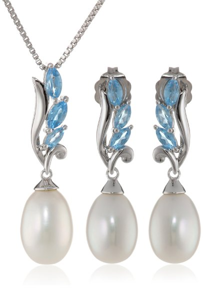 silver pearl earing and necklace set with blue topaz rhinestones