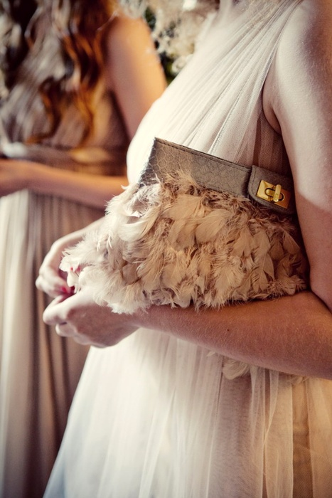 fur clutch - feather prom bag 2014