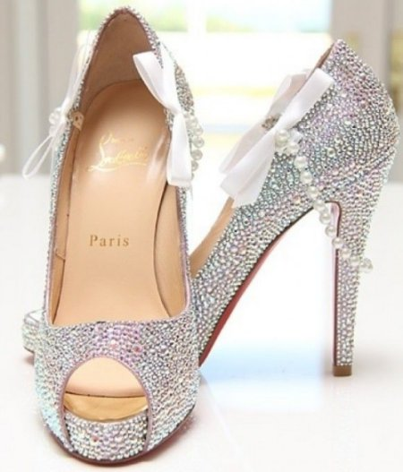 sparkling prom shoes 2014 with bows and pearls