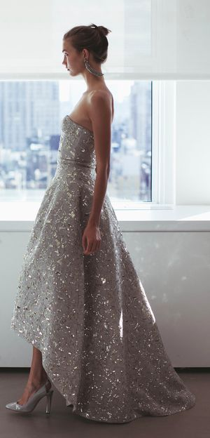Oscar de LaRenta silver sequin prom dress 2014