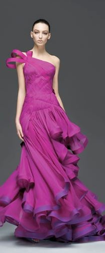 purple prom dress 2014 with ruffles by Atelier Versace