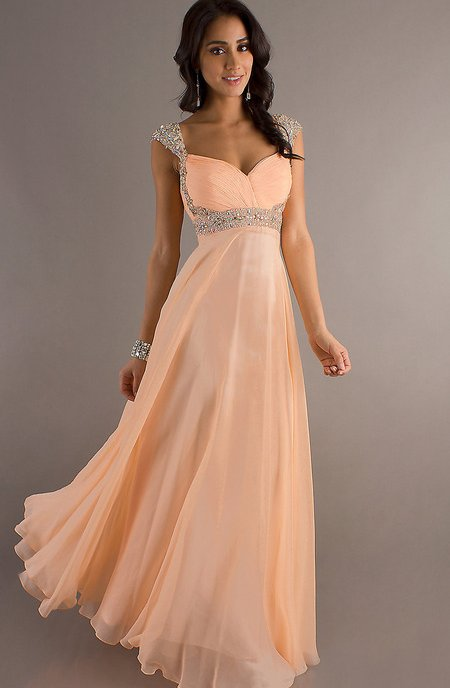 beautiful long peach prom dress 2014