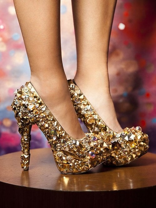 gold jeweled prom shoes 2014