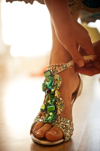 green jeweled prom sandals 2014