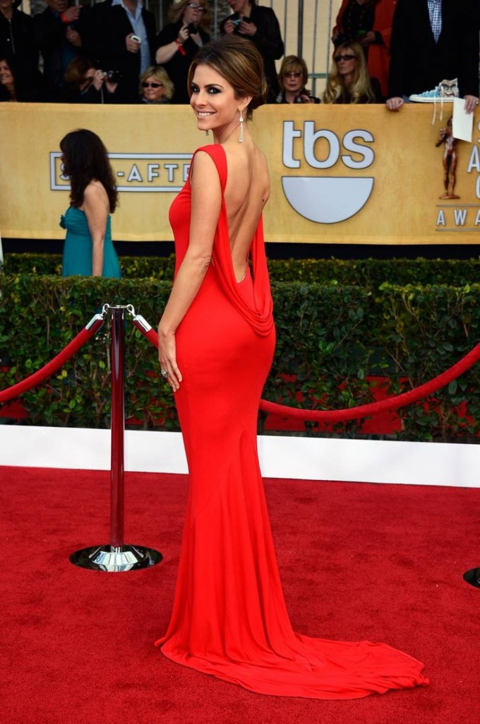 long red low back prom dress 2014