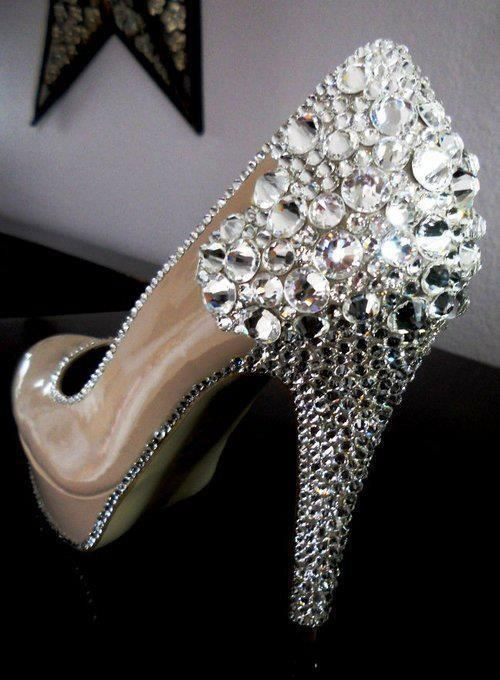 nude prom shoes 2014 with silver crystals