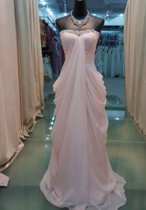 strapless peach prom dress 2014