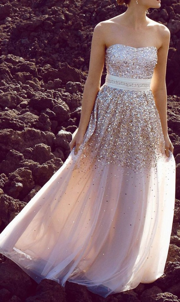 strapless sparkly prom dress 2014