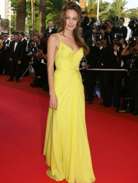 Angelina Jolie yellow prom dress 2014