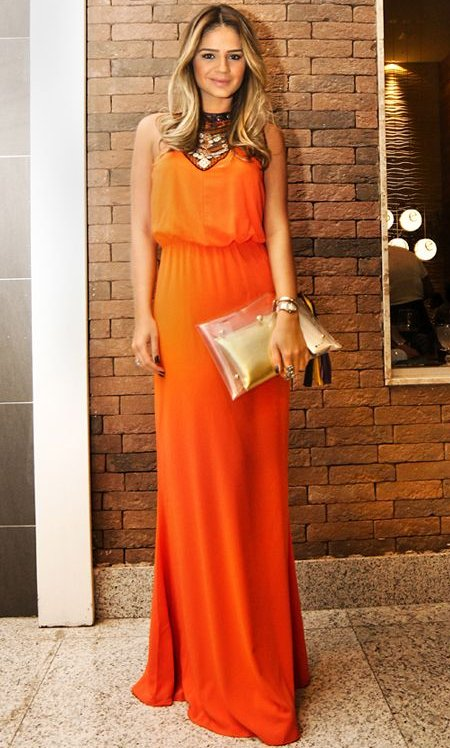 elegant long orange prom dress 2014 high neck
