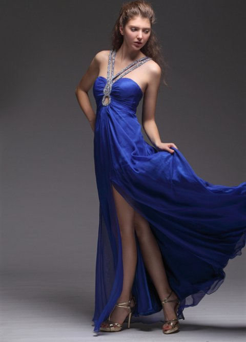 halter blue prom dress 2014