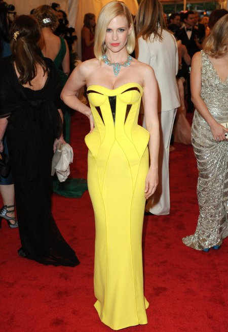 january jones in bright yellow prom dress 2014
