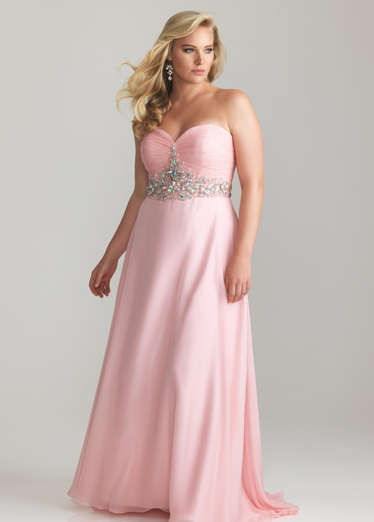 Beautiful long light pink plus size prom dress 2014 with strapless