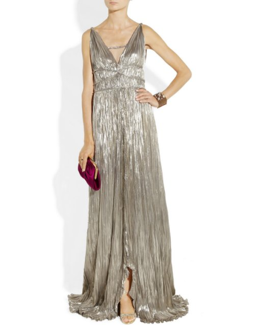 long elegant silver prom dress 2014 Oscar de la Renta