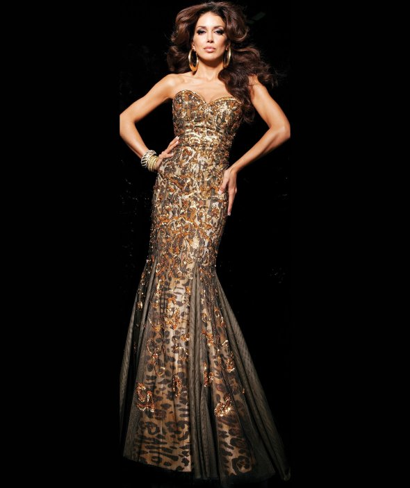 long leopard prom dress 2014 with gold details