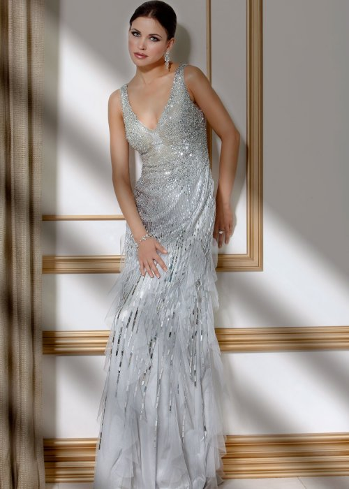 long silver jovani prom dress 2014