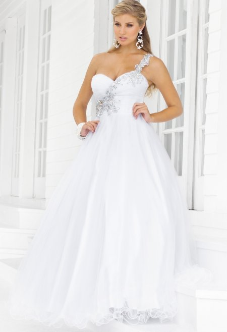 one shoulder white plus size prom dress 2014