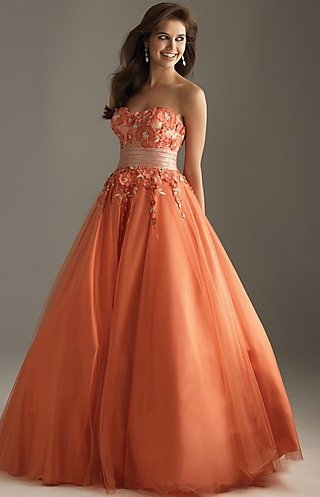 orange prom ball gown 2014
