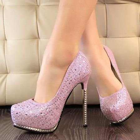 pink rhinestone prom shoes 2014