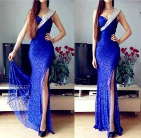 pne shoulder blue prom dress 2014