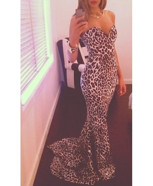 sexy leopard prom gown 2014