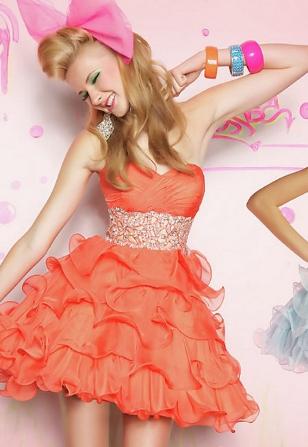 short orange prom dress 2014