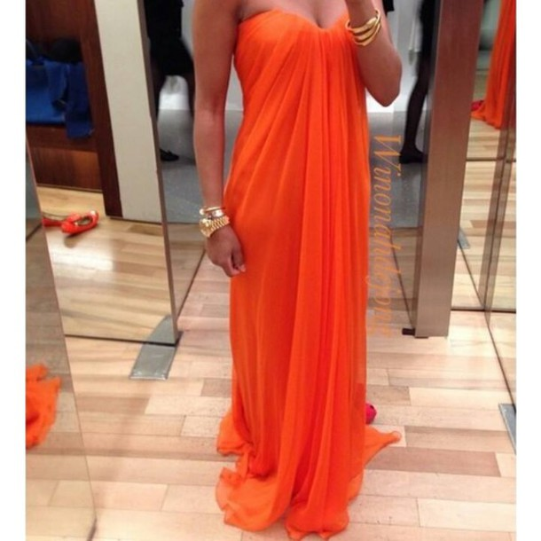 strapless long orange prom dress 2014