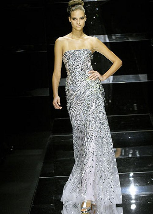 strapless silver ellie saab prom dress 2014