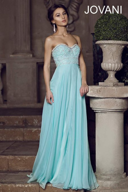 Beautiful aqua prom gown 2014 by Jovani with strapless top and beading-78135