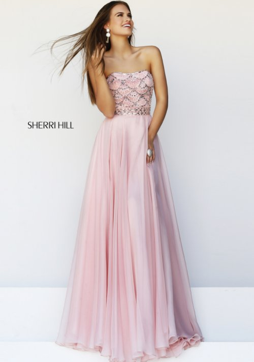 Beautiful pink prom dress 2014 by Sherri Hill with beaded bodice