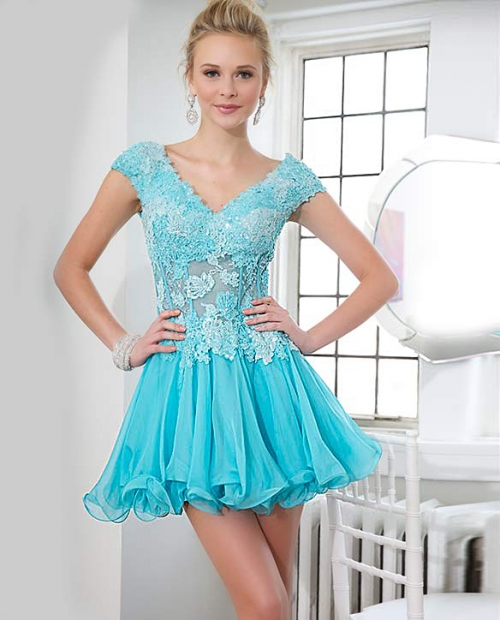 Blue cap sleeve Jovani corseted short prom dress 2014 with a chiffon skirt features lace applique neckline-79218