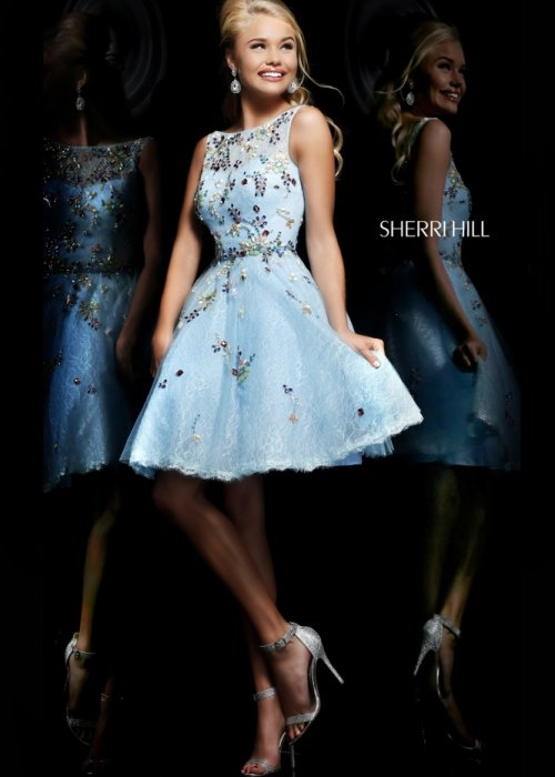 Blue short prom dress 2014 with colorful jeweled flowers